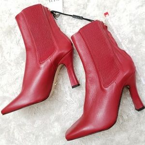ZARA Heeled Leather Square Toe Red Ankle Boots